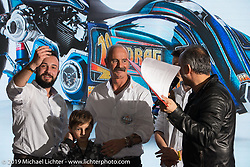 Carlo Colombo gets am award for his Asso Special Bike new custom bagger in LowRide Magazine Italy's bike show award ceremony at Motor Bike Expo. Verona, Italy. Sunday January 21, 2018. Photography ©2018 Michael Lichter.