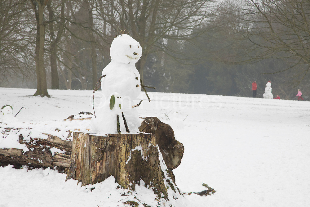Snowman fun in Highbury Park as freezing weather, dubbed The Beast from the East due to the sub zero cold temperature winds coming in from Siberia, descends on Kings Heath on 3rd March 2018 in Birmingham, United Kingdom.