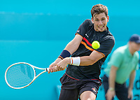 Tennis - 2019 Queen's Club Fever-Tree Championships - Day One, Monday<br /> <br /> Men's Singles, First Round: Cameron Norrie (GBR) Vs. Kevin Anderson (RSA) <br /> <br /> Cameron Norrie (GBR) prepares to strike the backhand return on Centre Court.<br />  <br /> COLORSPORT/DANIEL BEARHAM