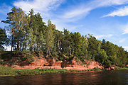 "Sandstone cliffs ""Sarkanās klintis"" along river Salaca on hot summer day, Near Salacgrīva, Latvia, Latvia Ⓒ Davis Ulands 
