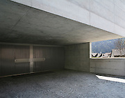 villa design in concrete, garage