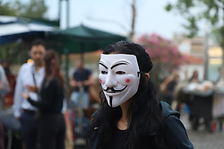 May 5, 2018 - Athens, Attiki, Greece - Anonymous for the Voiceless a animal right activists group organises a peacefull staic demonstration in Athens, in support of a Vegan way of thinkingn and living.Dressed in black and wearing Guy Fawkes Masks they showed videos of cruelty towards animals. (Credit Image: © George Panagakis/Pacific Press via ZUMA Wire)