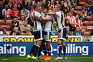 Jose Salomon Rondon of West Bromwich Albion celebrates with his teammates after scoring his teams 1st goal. Barclays Premier League match, Stoke city v West Bromwich Albion at the Britannia stadium in Stoke on Trent, Staffs on Saturday 29th August 2015.<br /> pic by Chris Stading, Andrew Orchard sports photography.