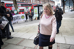 © Licensed to London News Pictures. 27/01/2020. London, UK. Felicity Buchan MP for Kensington & Chelsea talks to protesters as she arrives for the start of phase two of Grenfell Inquiry. The second part of the inquiry into the fire that claimed the lives of 72 residents will consider important wider issues around the refurbishment and management of the Tower. Photo credit: Peter Macdiarmid/LNP