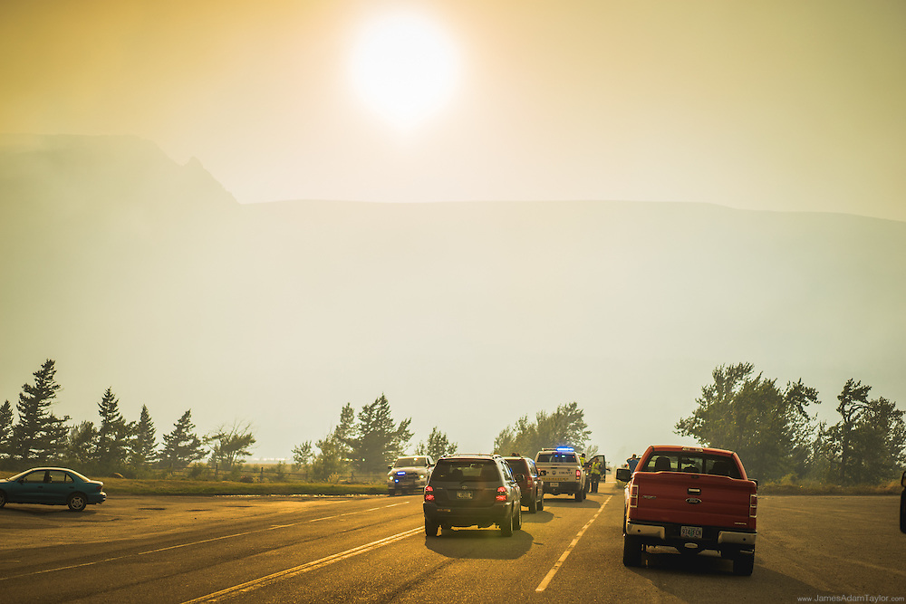 Traffic accumulates at the road closure in Saint Mary, Montana, just outside of Glacier National Park. July 21st 2015 Reynolds Creek fire