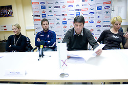 Spela Cerar, Primoz Pori, Leopold Kalin and Vesna Pus at  press conference of Handball women national team of Slovenia before prequalification tournament (for World Championship China 2009) in Montenegro from 25th till 30th November 2008, on November 31, 2008, in RZS, Ljubljana, Slovenia. (Photo by Vid Ponikvar / Sportida)