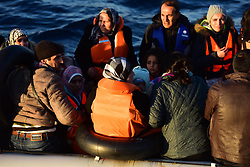 ANTALYA, TURKEY - FEBRUARY 24: Syrian refugees are seen in a boat before 50 refugees captured by Turkish coast guard while they were illegally trying to reach Greece's Kastellorizo island, in shores of Kas District of Antalya, southern province of Turkey on February 24, 2016. Süleyman Elcin / Anadolu Agency  | BRAA20160225_153 Antalya Turquie Turkey