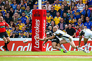 Hull FC stand off Albert Kelly (6) offloads for Hull FC replacement Chris Green (15) to score a try to make the score 16-12 during the Challenge Cup 2017 semi final match between Hull RFC and Leeds Rhinos at the Keepmoat Stadium, Doncaster, England on 29 July 2017. Photo by Simon Davies.