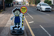 Illustrated characters of small children war motorists not to park at a nearby primary school in Kings Heath on 7th Febuary 2020 in Birmingham, United Kingdom.