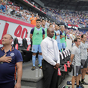 HARRISON, NEW JERSEY- JULY 24:  NYCFC coach Patrick Vieira during the National Anthem before the New York Red Bulls Vs New York City FC MLS regular season match at Red Bull Arena, Harrison, New Jersey on July 24, 2016 in Harrison, New Jersey. (Photo by Tim Clayton/Corbis via Getty Images)