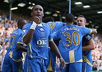 Fotball<br /> England<br /> Foto: Fotosport/Digitalsport<br /> NORWAY ONLY<br /> <br /> Lassana Diarra (Portsmouth) celebrates his goal <br /> <br /> 25.08.08  Portsmouth v Middlesbrough Premier League