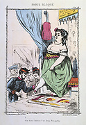 Franco-Prussian War 1870-1871: Siege of Paris 19 Sept 1870-28 Jan 1871.  Hungry French National Guardsman  thinks of a good use of the Fat Lady's calf - a good stew.  From 'Paris Bloque', Faustin Betbeder.  France Germany Food Shortage