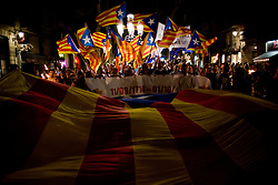 September 10, 2017 - Barcelona, Catalonia, Spain - Pro independentist supporters wave estelada flags (Catalonia independence sign) the eve of La Diada or Catalan National Day on Sept. 10, 2017, in Barcelona, Spain. (Credit Image: © Jordi Boixareu/NurPhoto via ZUMA Press)