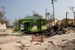 05 Sept  2005. New Orleans, Louisiana. Post hurricane Katrina.<br /> Devastation  along the Chef Menteur  Highway (I-90) in Chalmette in the ghost town that once was New Orleans.<br /> Photo; ©Charlie Varley/varleypix.com
