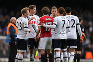 Daley Blind of Manchester United congratulates Son Heung-Min of Tottenham Hotspur, Christian Eriksen of Tottenham Hotspur, Jan Vertonghen of Tottenham Hotspur, Toby Alderweireld of Tottenham Hotspur after the final whistle. Barclays Premier league match, Tottenham Hotspur v Manchester Utd at White Hart Lane in London on Sunday 10th April 2016.<br /> pic by John Patrick Fletcher, Andrew Orchard sports photography.