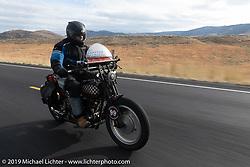 Jon Neuman riding his 1928 Harley-Davidson JDH on the Motorcycle Cannonball coast to coast vintage run. Stage 13 (254 miles) Kalispell, MT to Spokane, WA. Friday September 21, 2018. Photography ©2018 Michael Lichter.