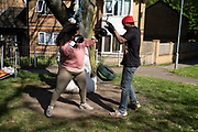 Mendez from K-Star Gym takes his boxing gym outside for training in his neighbourhood as all gyms are closed under Coronavirus lockdown on 5th May 2020 in Birmingham, England, United Kingdom. Coronavirus or Covid-19 is a new respiratory illness that has not previously been seen in humans. While much or Europe has been placed into lockdown, the UK government has put in place more stringent rules as part of their long term strategy, and in particular social distancing.