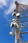 microwave antennas on television broadcast transmission tower on Mount Canobolas, Orange, New South Wales, Australia <br />