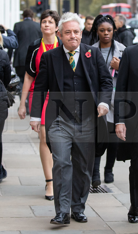 © Licensed to London News Pictures. 06/11/2018. London, UK. Speaker of the House of Commons John Bercow arrives for a Service at St Margaret's Church, Westminster to mark the Centenary of the end of the First World War. Parliamentarians from the House of Commons and House of Lords gathered to remember the sacrifices of those parliamentarians, parliamentary officers and staff who gave their lives during the First World War, or who were injured. Photo credit : Tom Nicholson/LNP
