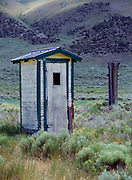 Outhouse behind the old one-room Edie schoolhouse, Medicine Lodge Creek, Idaho.
