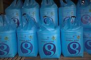 Large blue bags of nitrate fertiliser