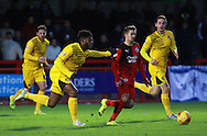 Crawley Town midfielder Gwion Edwards gets the better of Bristol Rovers striker Ellis Harrison during the Sky Bet League 2 match between Crawley Town and Bristol Rovers at the Checkatrade.com Stadium, Crawley, England on 21 November 2015. Photo by Bennett Dean.