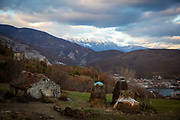 An out building and hay stacks at a rural homestead mountains of northern Albania on the 12th of December 2018, the views from the homestead include the Valbona Valley National Park and the village of Dushaj, Tropojë Albania.  (photo by Andrew Aitchison / In pictures via Getty Images)