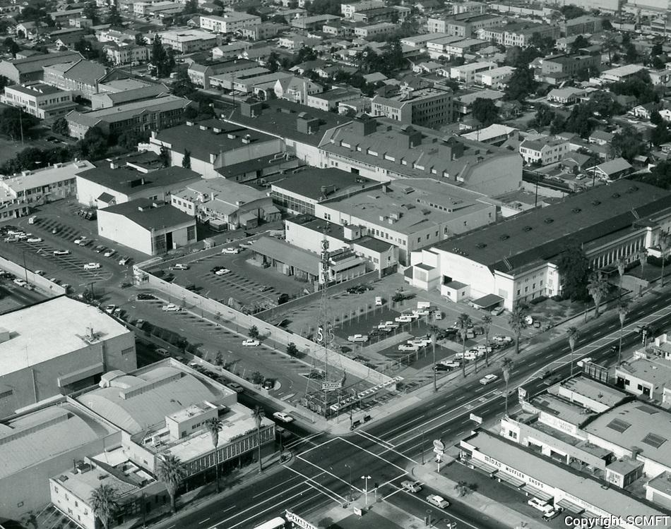 1969 Aerial of KTLA TV on Sunset Blvd.