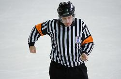 Znak za zadrzevanje s palico (2). Hooking. Slovenski hokejski sodnik Damir Rakovic predstavlja sodniske znake. Na Bledu, 15. marec 2009. (Photo by Vid Ponikvar / Sportida)