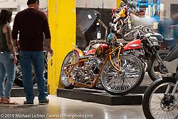 El Scorcho, Mark Shell's Bonneville Customs' custom 1996 Harley-Davidson Shovelhead from Idaho Falls, Idaho on display at the Handbuilt Show. Austin, Austin USA. Sunday, April 14, 2019. Photography ©2019 Michael Lichter.