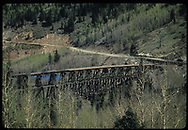 RGS Bridge #45-A at Ophir as seen from siding beyond Bridge 45-B across the Howard Fork from Ophir.<br /> RGS  Ophir, CO  5/29/1949<br /> Thanks to Don Bergman for additional information.