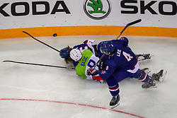 Luka Basic of Slovenia during Ice Hockey match between National Teams of Great Britain and Slovenia in Round #1 of 2018 IIHF Ice Hockey World Championship Division I Group A, on April 22, 2018 in Budapest, Hungary. Photo by David Balogh / Sportida