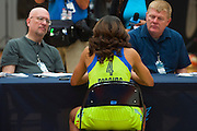 Skylar Diggins of the Dallas Wings visits with the media during the team media day in Arlington, Texas on May 5, 2016.  (Cooper Neill for The New York Times)