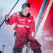 © María Muiña I MAPFRE: Tamara Echegoyen entrenando a bordo del MAPFRE. Tamara Echegoyen training on board MAPFRE.