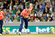 Liam Plunkett bowling for England during the International T20 match between England and Pakistan at the Emirates, Old Trafford, Manchester, United Kingdom on 7 September 2016. Photo by Craig Galloway.