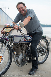 Harley-Davidson Museum Archive Restorer/Conservator Bill Rodencal of Wisconsin on his 1915 Harley-Davidson in Cape Girardeau during the Motorcycle Cannonball Race of the Century. Stage-5 from Bloomington, IN to Cape Girardeau, MO. USA. Wednesday September 14, 2016. Photography ©2016 Michael Lichter.