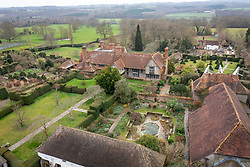 Great Dixter in late winter from above