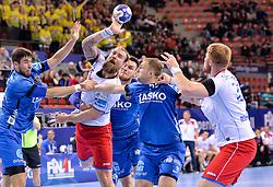 Horak of Meshkov Brest  during handball match between Meshkov Brest and RK Celje Pivovarna Lasko in bronze medal match of SEHA- Gazprom League Final 4, on April 15, 2018 in Skopje, Macedonia. Photo by  Sportida