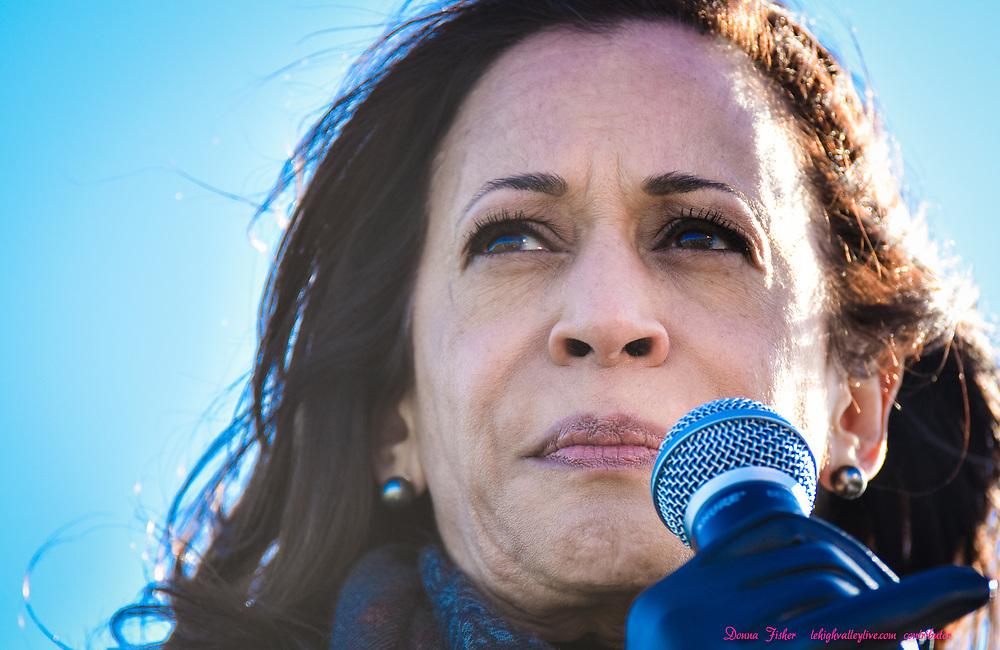U.S. Sen. Kamala Harris, running mate of Joe Biden, speaks to supporters at Dutch Springs in Bethlehem, Pa., Monday, November 2, 2020.