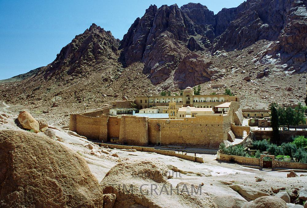 St Catherine's Monastery at foot of Mount (Mount el-Deir), also Mount Sinai, in Sinai Desert in Egypt