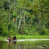 A Peruvian man motors down Pahuachiro Caño in his wooden canoe. Pacaya Samiria National Reserve, Upper Amazon, Peru.