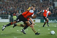 Photo: Gerrit de Heus. Rotterdam. UEFA Cup Final. Feyenoord-Borussia Dortmund. Bonaventure Kalou and Christian Worns.