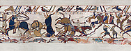 11th Century Medieval Bayeux Tapestry - Scene 53 - Scenes from the battle of Hastings .<br /> <br /> If you prefer you can also buy from our ALAMY PHOTO LIBRARY  Collection visit : https://www.alamy.com/portfolio/paul-williams-funkystock/bayeux-tapestry-medieval-art.html  if you know the scene number you want enter BXY followed bt the scene no into the SEARCH WITHIN GALLERY box  i.e BYX 22 for scene 22)<br /> <br />  Visit our MEDIEVAL ART PHOTO COLLECTIONS for more   photos  to download or buy as prints https://funkystock.photoshelter.com/gallery-collection/Medieval-Middle-Ages-Art-Artefacts-Antiquities-Pictures-Images-of/C0000YpKXiAHnG2k