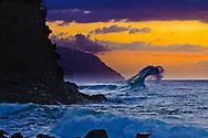 Wave breaking off Ke'e Beach, on the Na Pali coast of Kauai, Hawaii