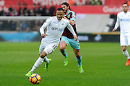 Swansea's Martin Ollson goes on a run. Premier league match, Swansea city v Burnley at the Liberty Stadium in Swansea, South Wales on Saturday 4th March 2017.<br /> pic by  Carl Robertson, Andrew Orchard sports photography.