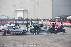 Stunt car and bike show during the Motor Bike Expo. Verona, Italy. January 24, 2016.  Photography ©2016 Michael Lichter.