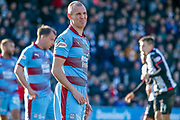Kenny Miller of Dundee FC looks disconsolate during the Ladbrokes Scottish Premiership match between St Mirren and Dundee at the Paisley 2021 Stadium, St Mirren, Scotland on 30 March 2019.