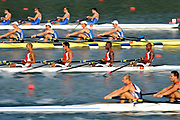 Shunyi, CHINA.   Men's quads  move away from the start [Slow Shutter] featuring CUB M4X.  in their Repechage, at the 2008 Olympic Regatta, Shunyi Rowing Course. Tuesday 12.08.2008  [Mandatory Credit: Peter SPURRIER, Intersport Images]