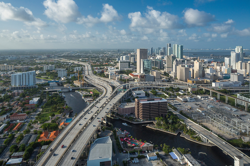 Aerial view of western downtown Miami and I-95 looking north in the afternoon