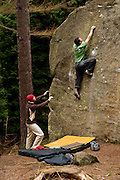 Andy Jennings climbing The Nadser, 7b, Kyloe-in-the-woods